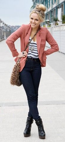 Striped shirt under colorful blazer