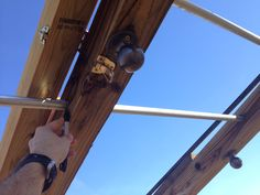 """Making the length of the pipe to exactly fit each section. Since the boards have a slight warp, the sections vary in length by 1-2"""""""