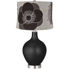 Color Plus Caviar Metallic Velveteen Flower Shade Ovo Table Lamp (195 CAD) ❤ liked on Polyvore featuring home, lighting, table lamps, grey, grey table lamp, gray lamp, floral table lamp, flower table lamp and flower lights