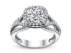 Criss-Cross Cushion Diamond Halo Engagement Ring in 14K White Gold