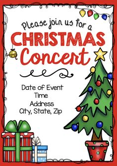 Editable DIY Christmas concert invitation - flyer - poster - program - flier and more! Download, edit and print yourself!
