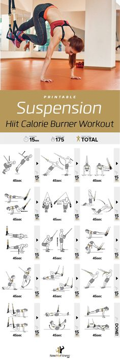 Laminated Suspension Exercise Poster - Strength Training Chart - Build Muscle, Tone & Tighten - Home Gym Resistance Workout Routine - Fitness Guide - Bodyweight Resistance Floor Workouts, Easy Workouts, At Home Workouts, Floor Exercises, Trx Workouts For Women, Trx Training, Strength Training, Suspension Workout, Resistance Workout