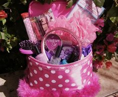Beauty Easter Basket for Girls - This Beauty Easter Basket brings out the girl in all of us and is perfect for divas of all ages! There is no candy included in this basket -- just tons of fun items for girls and teens. Use a cute cosmetic case and fill it with nail polish, nail files, bath accessories, hair brushes and styling products, makeup mirrors and more.