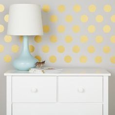 For Penny's Big Girl Room (when the time comes): Lottie Dots Decals feature a whole lottie of stick-on dots that will fancify any space in your home. Each set contains 48 dot decals, and they're available in Silver, Gold or White. Kids Wall Murals, Murals For Kids, Polka Dot Walls, Polka Dot Wall Decals, Home Design, Design Room, Inspiration Design, Design Ideas, Creative Walls