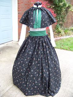 Civil War Long SKIRT with Cape and Green Sash one by civilwarlady