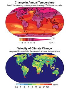 Two 'heat maps' depicting aspects of climate change