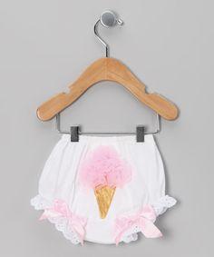 white & pink ice cream diaper cover