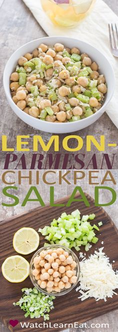 This Lemon-Parmesan Chickpea Salad is a light and fresh vegetarian side dish that's a perfect accompaniment for spring or summer meals.