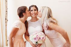 Love peach and pink blush colors, cute photo with bride and her friends at Creativo Loft in Chicago http://www.creativoloft.com