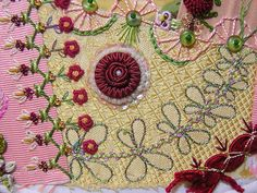 Pretty embroidery on this crazy quilt