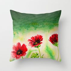 Three Red Flowers Throw Pillow by Art by Corin - $20.00