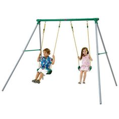 Outdoor Play Metal Frame Garden Double Swing Set Summer Fun Plum Sedna FREE P&P