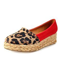 Look what I found on #zulily! Red & Brown Leopard Platform Espadrille by Nomad Footwear #zulilyfinds