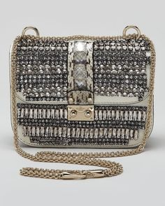 b6db3cd8f6b2 VALENTINO Small Glam Crystalcovered Lock Crossbody Bag - Lyst Cover Lock,  Sequins And Stripes,