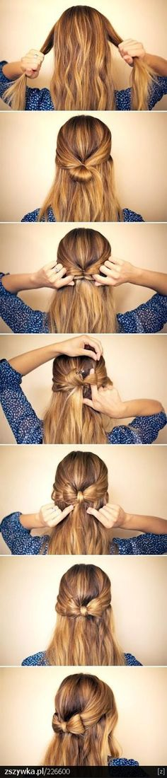 Five interesting DIY hair bow tutorials. Find out how to make bow out of your hair. Make bow in your hair as hair bow bun, or together with brad,fishtail. My Hairstyle, Pretty Hairstyles, Ribbon Hairstyle, Braided Hairstyle, Bow Hairstyles, Wedding Hairstyles, School Hairstyles, Hair Knot, Simple Hairstyles