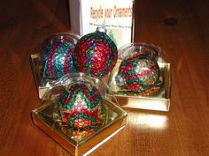 "Recycled Glass Ornaments ""Sale""  Package Includes Instructions!"