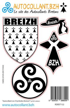 Planche de 4 autocollants des Symboles Bretons - Blason Breizh - Chapeau Breton - Hermine - Triskell rond Breizh Ma Bro, Playing Cards, Creations, Art, Brittany, Stickers, Coat Of Arms, Symbols, Celtic