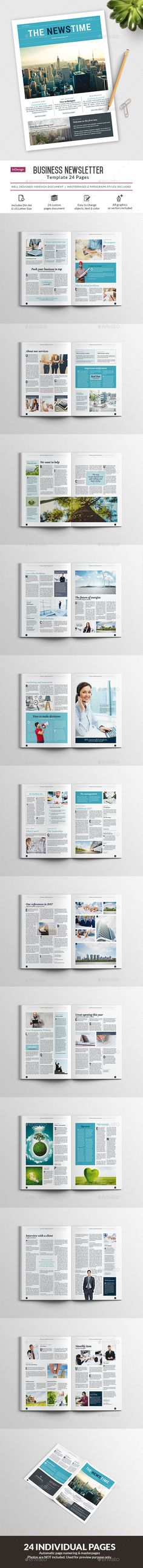 Clean Business Newsletter - 24 pages - #Newsletters Print #Templates Download here: https://graphicriver.net/item/clean-business-newsletter-24-pages/19296137?ref=alena994