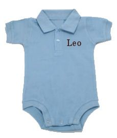 This classic onesie features a collared neck with button placket. 100% cotton. A Little Bit Of This Sky Blue Polo Onesie. Click the image to get more information about the product, including personalization options, at our online store!