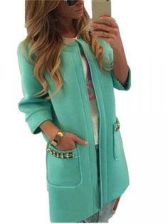 Elegant Women Collarless Single Breasted Long Sleeve Woolen Coat - Newchic Plus Size Outerwear