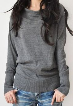 Light Grey Boat Neck Long Sleeve Batwing Pullovers Sweater -SheIn(Sheinside) Mobile Site