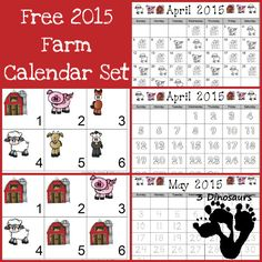 Free 2015 Farm Calendar: AABC pattern cards and single page calendar sheet - 3Dinosaurs.com
