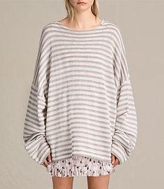Womens Casso Crew Sweater (CREAM/QUARTZ PINK) - product_image_alt_text_1 Cardigan Sweaters For Women, Sweater Cardigan, Crewneck Sweater, Women's Sweaters, Cardigans, Allsaints Style, Breton Stripes, All Saints, Knitwear
