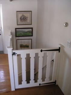 traditional staircase by Peter Zimmerman Architects Gate at the top of the stairs! Staircase Gate, Stair Gate, Top Of Stairs Gate, Stairway, Custom Baby Gates, Kids Gate, Traditional Staircase, Farmhouse Interior, Home Projects