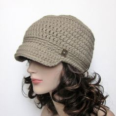 Oatmeal Cadet Hat  Womens Crochet Military by ColorMyWorldCrochet