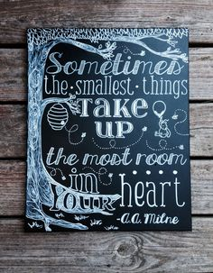 Sometimes the Smallest Things | A.A. Milne Quote | Winnie the Pooh | Hand Painted | Canvas | Decor