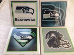 Seattle Seahawks Coasters Set of 4 - Football Tile Ceramic Man Cave Personalized Custom Gift Seattle Seahawks, Coaster Set, Man Cave, Tile, Football, Ceramics, Unique Jewelry, Handmade Gifts, Vintage