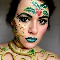 @madeupbyannie love this thank you for tagging us #mua #makeup #makeupartist #christmas #holly #faceart #facepaint #facepainter #dupemag