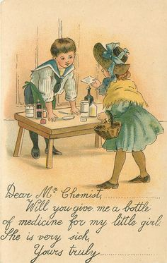 vignette of boy left behind table with bottles on, girl faces away, holding paper in right hand, and basket on left hand