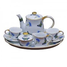 child's blue tea set