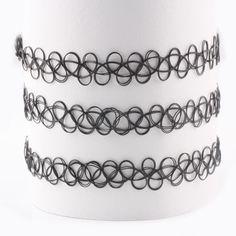 New Style Black Magic Tattoo Choker Stretch Necklace And Bracelet Set Jewelry