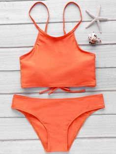 Orange Cami Bikini Set ORANGE: Bikinis   ZAFUL