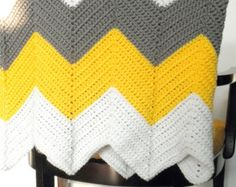 Afghan - Chevron Afghan in Cottage Chic - White Yellow and Gray