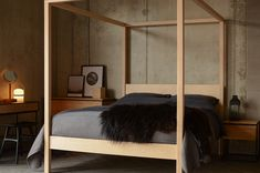 We are inspired by Scandinavian style and furniture design, here we look at using our solid wood bed-frames to create a Scandinavian style bedroom scheme. Four Poster Bed Frame, 4 Poster Beds, Wood Canopy Bed, Wood Beds, Japanese Style Bed, Low Platform Bed, Scandinavian Style Bedroom, Beds Uk, Oak Cupboard