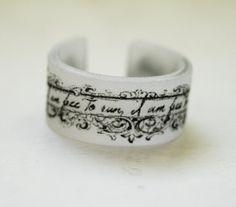 Victorian Banner Custom Shrinky Dink Ring. $5.50, via Etsy.