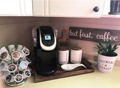 Coffee station on kitchen counter. Keurig - Hailey Tate - Coffee station on kitchen counter. Keurig Coffee station on kitchen counter. Coffee Station Kitchen, Coffee Bars In Kitchen, Coffee Bar Home, Home Coffee Stations, Coffe Bar, Office Coffee Station, Coffee Kitchen Decor, Cosy Kitchen, Big Kitchen