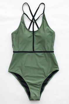 78d1e6798141b Cupshe Lively Rhythm Solid One-piece Swimsuit