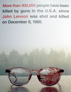 "Yoko Ono took this picture. She used it as the cover for her 1981 album ""Season of Glass."" Yoko has long been a hard-working activist in the name of reducing gun violence, helping to champion legal causes, raising funds and awareness even to this day"