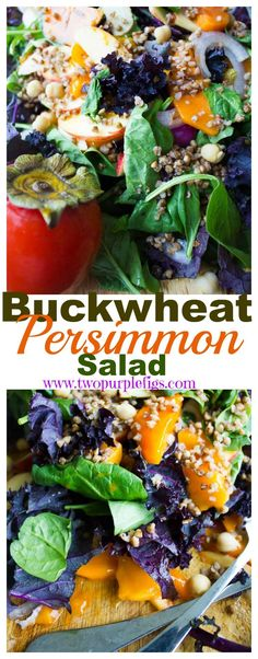 Buckwheat Persimmon Salad. Light, fresh, sweet and easy healthy salad that's gluten free and vegan too! A seasonal favorite to enjoy persimmons! www.twopurplefigs.com