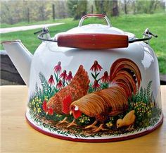 Hand+Painted+Metal+Coffee+Pots   Old White Red Enamel Tea Kettle Coffee Pot HP ROOSTER ART Hen Chick ...