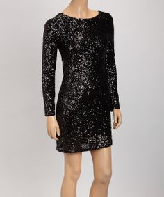 Take a look at this Black Shimmer Dress - Women on zulily today!