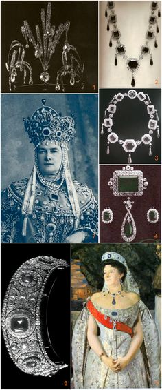 Grand Duchess Maria Pavlovna's jewels for the 1903 Court Ball. Briolette diamond aigrettes, which Cartier set in a tiara in 1908 (see image 1), and an emerald necklace (2 & 3) adorned her headdress (7). On her bosom, she wore an emerald brooch (4) that once belonged to Catherine the Great. Below this was pinned a large sapphire that became the central stone of a Cartier tiara commissioned in 1909 (6). A 1913 portrait by Boris Kustodiev shows her wearing this sapphire and diamond diadem (5).