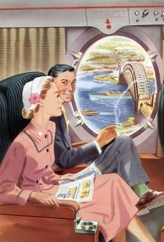 Collin & I, Went to California from Lansing Mi, In A Train. We had the nicest Time Together. Romance Art, Vintage Romance, Retro Vintage, Retro Images, Vintage Pictures, Collages, Vintage Housewife, Happy Cartoon, Arte Pop