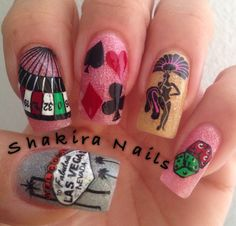 Style those nails night out in vegas a las vegas themed nail art lasvegas lucky nails with moyou london prinsesfo Choice Image