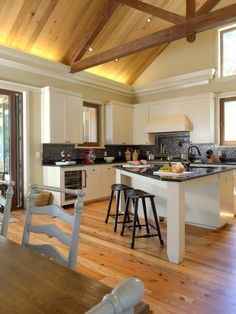 Kitchen Island With Attached Table Design, Pictures, Remodel, Decor and Ideas - page 31..i like the beams