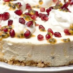 A beautiful cake, it looks like the lid of a jewel box and tastes light and lovely. The granadilla tones down the sweetness. The lemon cream biscuits make a delicious crust. West African Food, South African Recipes, Africa Recipes, Cream Biscuits, Nigerian Food, Cream Cheese Recipes, Pomegranate Seeds, Health Snacks, Beautiful Cakes